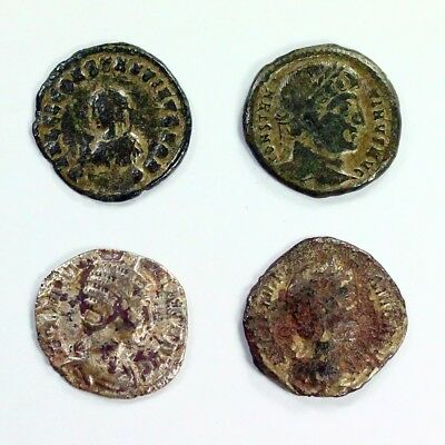 Four (4) Silver Ancient Roman Coins c.100 - 375 A.D. Exact Lot Shown 3112