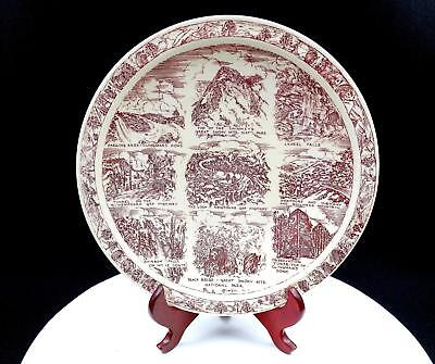 "Vernon Kilns Usa Red Transferware Smokey Mountains National Park 10 1/2"" Plate"