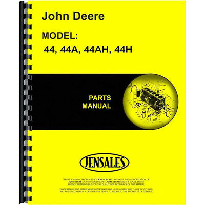 Parts Manual For John Deere Plow 44 (2-Bottom Moldboard)