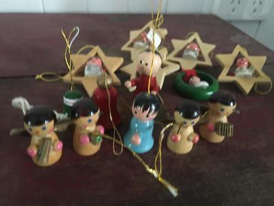 Vintage Wooden Christmas Tree Ornaments/Decorations - Collectable (15) Rare
