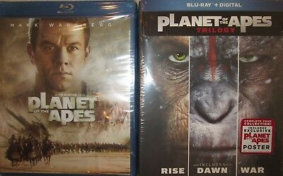 PLANET OF THE APES 1-2-3-4: Tim Burton's+Rise+Dawn+War-THE Remakes- NEW BLU RAYS