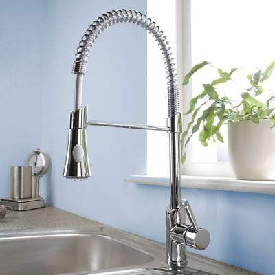 Kitchen Mixer Tap Brass Modern Monobloc with Pull Out Hose Spray Chrome Faucet