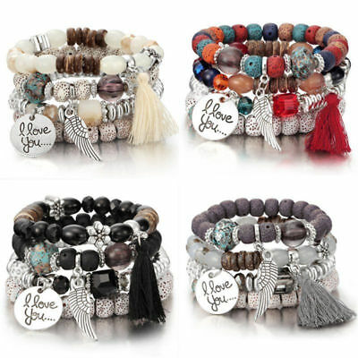4Pcs I Love You Multilayer Natural Stone Crystal Bangle Beaded Bracelets Jewelry