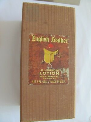 VINTAGE~1960s~WOOD ENGLISH LEATHER ALL PURPOSE LOTION EMPTY BOX