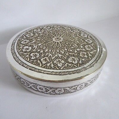 Vintage Chased Silver Plate Round Shallow Box 3.25 Inches Dia
