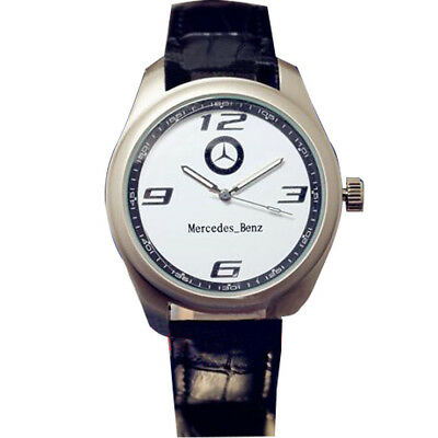 New Mercedes Benz Men/Women Stainless Steel Watch Black Leather Strap White Face