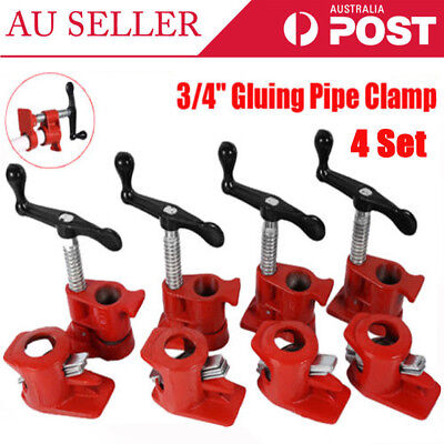 """New3/4"""" GLUING PIPE CLAMP 4 SETS WOODWORKING VICE HAND TOOLS Tube Clamp Cast Set"""
