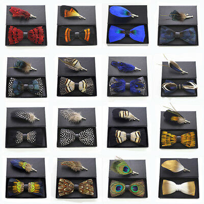 Men Bow-tie Brooch Set Feather Style Leather Bow Tie Adjustable Formal Bowtie
