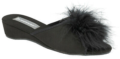 Ladies Womens Wedge Slippers Dunlop Feather Pom Pom Faux Suede Mules Heel Black