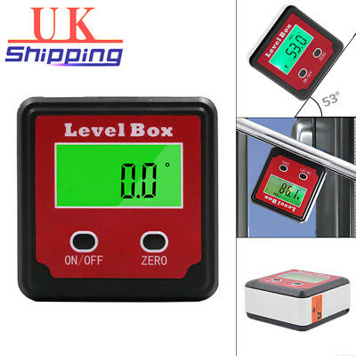 Inclinometer - Gauge 360° UK Level Box Digital Protractor Base Angle 0 Magnetic