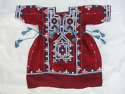 Ethnic Indian Embroidered Smock Dress w/ Mirrors & Tassels - Size 2 approx.