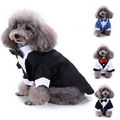 Dog Pet Puppy Clothes Tuxedo Bow Tie Shirt Suit Stylish Wedding Apparel Outfit