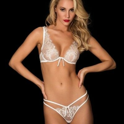Honey Birdette Tiffany Rose Gold Set Bridal BNWOT Bra 10D, Brief S, Thong S