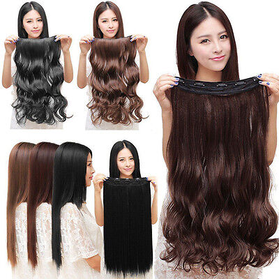 Womens Ladies 3/4 Full Head Clip In Hair Extensions Wavy Curly Straight Hair