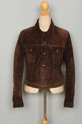 Vtg LEVIS Brown Leather Western Motorcycle Trucker Jacket Small/XSmall