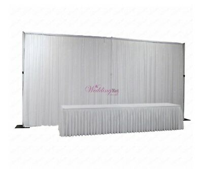 6Mx3M White Pleated Backdrop Curtain - Wedding Decoration Stage