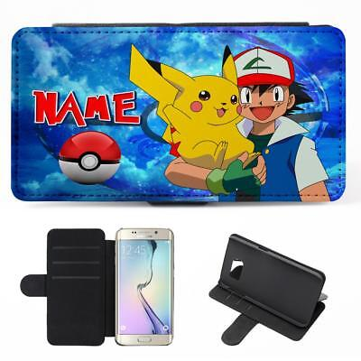 finest selection 9a0fd 1a914 PERSONALISED SAMSUNG GALAXY Phone Case POKEMON Flip Cover Boys Blue Gift  PK01