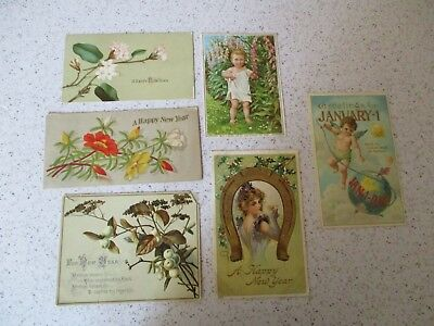 6 Antique Victorian New Year Cards, 2 Postcards, 1 With Verse, Vg Lot
