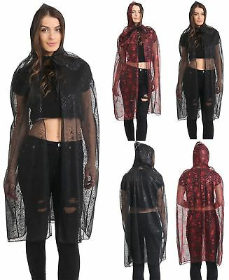 Ladies Spider Web Hooded Witches Cape Womens Halloween Fancy Dress Accessory