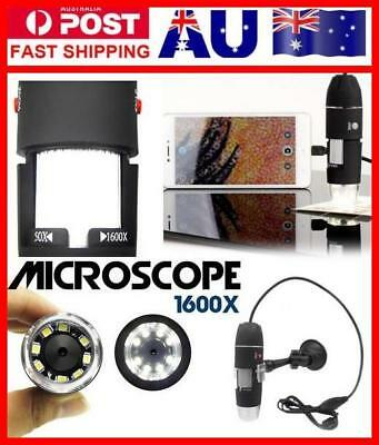 Portable 1600X 2-in-1 USB Microscope Digital Electronic Detection Magnifier AU!