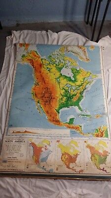 "Vintage Nystrom Pull Down Wall Map of North America 1962  43"" by 72"""