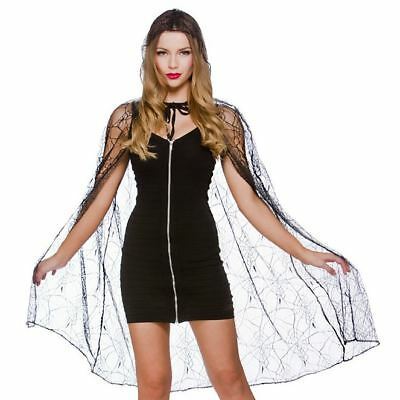 Ladies Hooded Spider Web Cape Vampire Halloween Witch Fancy Dress Accessory