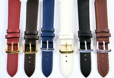 Mens Ladies Genuine Leather Watch Straps, Colours Gilt/ Chrome Buckles Free Pins