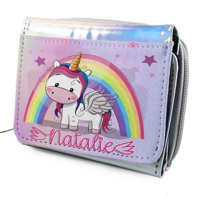 Girls Dinosaur Purse Personalised Pretty Shiny Silver Coin Wallet Gift KS116