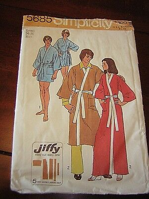 Simplicity Sewing Pattern 5685 Jiffy Kimono Robe Two Lengths Men 34/36  UNCUT