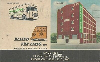 Printed Postcard 1020 Linen Posted 1966 Kansas City MO Perky Brothers Transfer