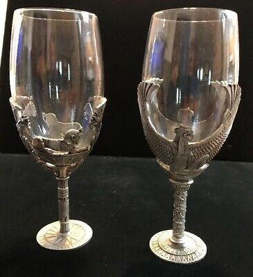 2 Myths & Legends Heavy Pewter Egyptian Champagne Goblet Wine Glass WUI (SH11)