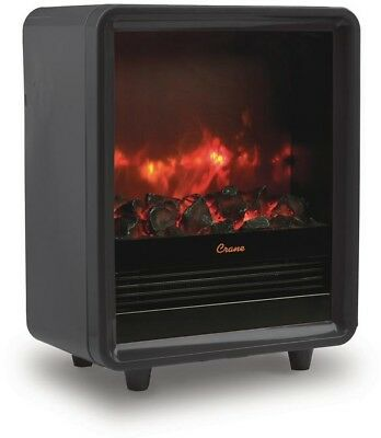 Crane 1500-Watt Mini Fireplace Heater Black Convenient Carrying Handles New