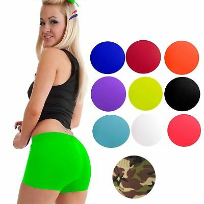 Womens Ladies Stretchy Neon Lycra Dance Gym Party Hot Pants Shorts Knickers •