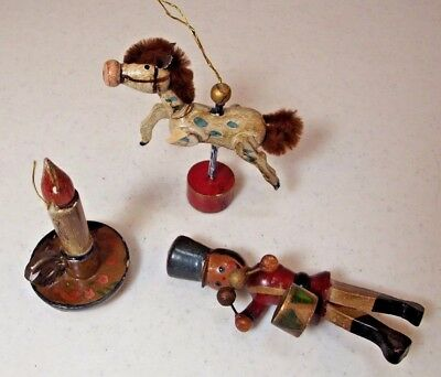 Lot 3 Vtg Hand Painted Wooden Christmas Ornaments Drummer Boy Candlestick Horse