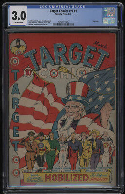 Target Comics #v2 #1 CGC 3.0 OW Pages Flag Cover 1941