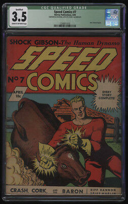 Speed Comics #7 CGC 3.5 Cr-OW Pages Qualified Missing Centerfold