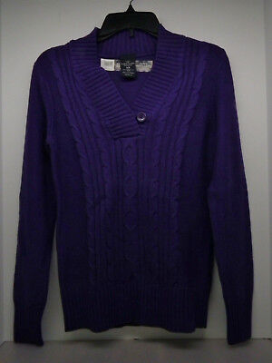 Women's Faded Glory Cable V-neck Sweater Size XL Heavy Weight Dark Purple NWT!