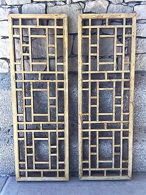 Rare Pair of Chinese Antique Natural Wood Carving Panels