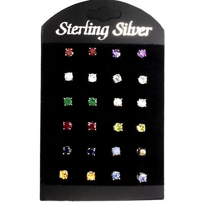 12 Pairs Sublime Round 4mm Ruby Sapphire Emerald Topaz Gems 925 Silver Earrings