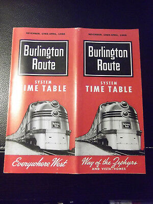 1965 Burlington Route System Timetable / Railroad / Railway / RR / Trains