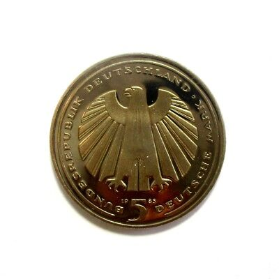 1985 GERMANY 5 Mark Proof Coin - 150TH ANNIVERSARY GERMAN RAILROAD #1