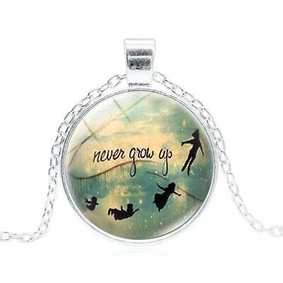 Peter Pan Never Grow Up Themed Glass Pendant Necklace Silver Gift Or Bag Box