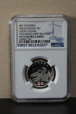 2016 Canada Lucky Loonie Colorized-First Releases Rio Olympics S$1 NGC PF70