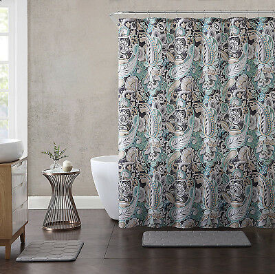 Paisley Print Fabric Shower Curtain Teal BlackTaupe White 72 X