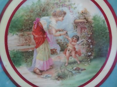 Lg Antique Crown Vienna Porcelain Cabinet Plate, Cephisa Clipping Cupids Wings