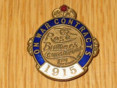 Ww1 Ww 1 On War Contracts Rose Brothers Gainsborough Ltd 1915 Enamel Badge