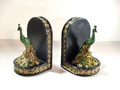 Elegant Pair Of Peacock Bookends W Green And Gold Jewel-Tones Art Nouveau