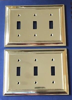 Pair Brass 3 Triple Toggle Light Switch Plate Plates Liberty Scuffed Used