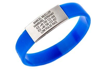ICEstripe Slim Medical Alert ID Silicone Bracelet with Free Custom Engraving Men