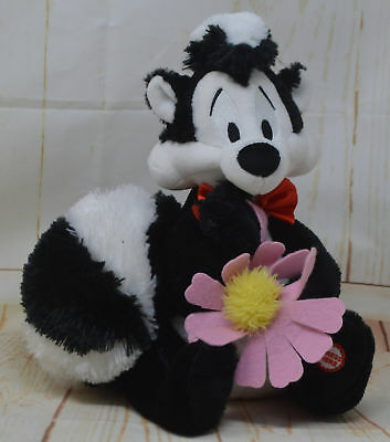 Hallmark Plush Skunk Pepe Le Pew with I Pick You Daisy Flower Talks Looney Tunes